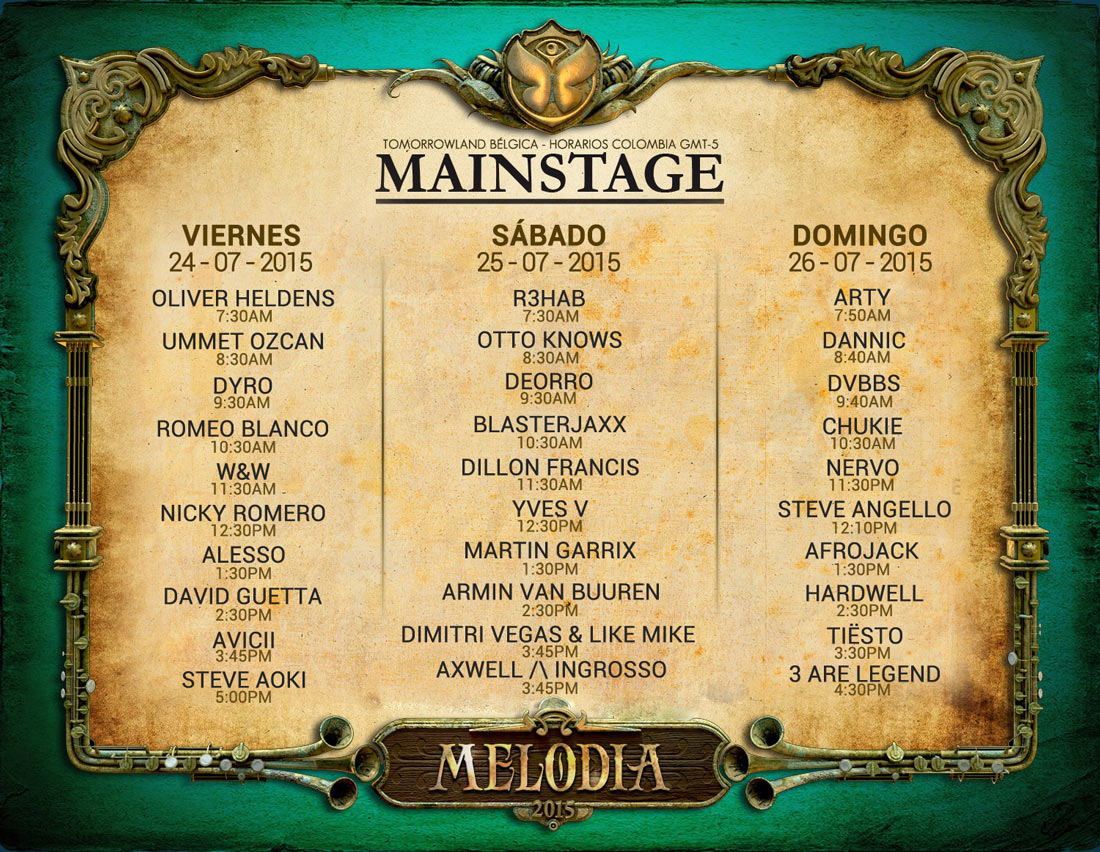 Horarios latinoamérica y Line-up final Tomorrowland Europa 2015