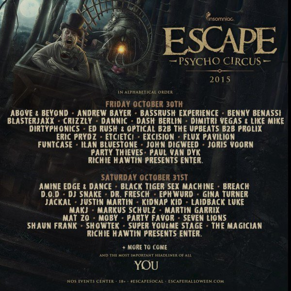 line up escape psycho circus halloween festival los angeles